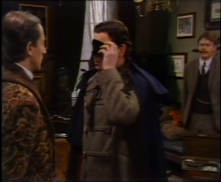 Jeremy Clyde and Michael Cochrane in a scene from 'A Scandal in Bohemia' enacted for Crime Writers